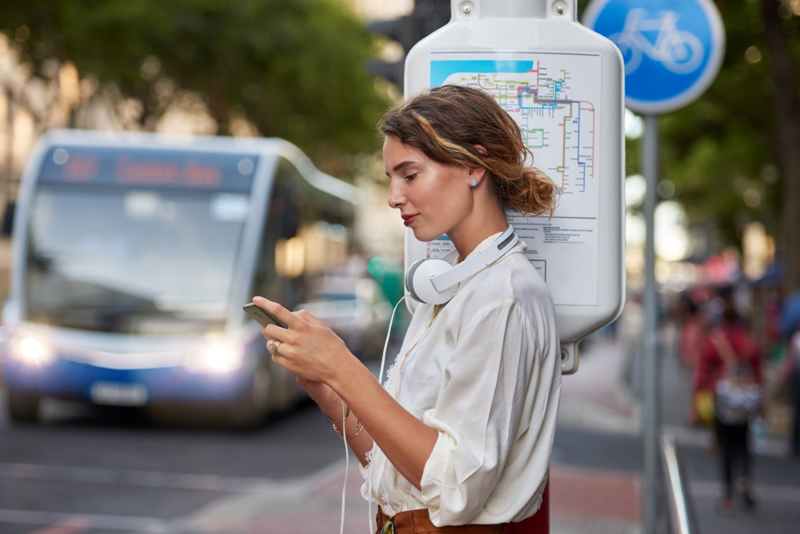 Lady using transit text SMS